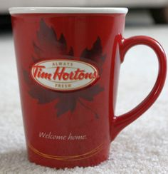 NEW NIB TIM HORTONS 2015 Ltd Edition Red White Snowflake Sweater Coffee MUG