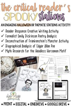 Big kids like Halloween too! This activity is a great way to bring the spookiness of Halloween to English class. It could also be paired with a thematic or genre study for mystery, detective, horror, or Gothic literature. This lesson will engage your critical thinkers with multiple perspectives (literary theory) and challenge them to write, research, role-play, listen, and share. Poe, Shelley's Frankenstein, Dickinson, and Irving's The Legend of Sleepy Hallow are included in the activity.