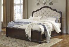Queen Upholstered Sleigh Bed by Ashley - Roberts Furniture and Mattress