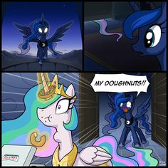Celestia eating Crispy Creme donuts which belongs to Luna Dessin My Little Pony, My Little Pony Comic, My Little Pony Drawing, My Little Pony Pictures, Celestia And Luna, Princess Celestia, Filles Equestria, Mlp Memes, My Little Pony Characters