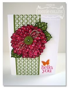Regarding Dahlias set. I thought I could pass on this stamp set, but it is just too beautiful! Connie Collins layered the dahlia, added a button and linen thread for a gorgeous look. kristyspeer.stampinup.net