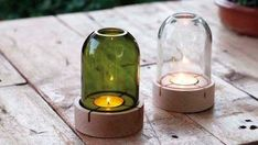 """- """" You are in the right place about weird trends Here we offer you the most beautiful pictures ab - Recycled Glass Bottles, Glass Bottle Crafts, Sea Glass Crafts, Bottle Art, Bottle Cutter, Driftwood Lamp, Bottle Painting, Tea Lights, Cut Glass"""