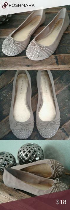 ANTONIO MELANI suede flats with stuffed toes Pre Loved Antonio Melani flats. Ready for a new home! Plenty of life left! They are a very soft suede with studded toes. Please see pics for condition. ANTONIO MELANI Shoes Flats & Loafers