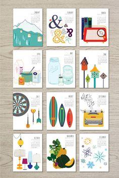 2014 Calendar, available as a printable or in hard copy! https://www.etsy.com/shop/JulieDearDesign