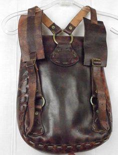 Vintage Leather Hippie Backpack Bag