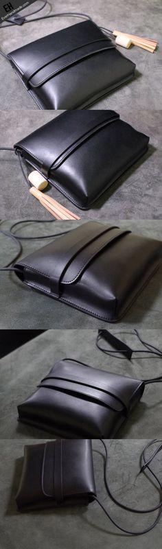 Handmade Leather shoulder bag black tassel for women leather crossbody bag