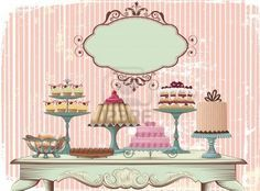Old-fashioned table is set with different cakes  All objects are grouped and separated to layers