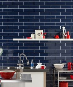 Diamante Blue Tile. Ideal for both kitchens and bathrooms, Diamante Blue has a high quality bevelled edge and is versatile enough for you to get as creative as you want.