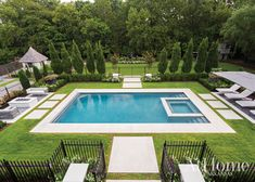 Areas for playing, gardening, and lounging abound in this spacious Northwest Arkansas outdoor retreat designed by Daniel Keeley Swimming Pool Landscaping, Swimming Pool Designs, Pool Fence, Fence Around Pool, Luxury Landscaping, Spa Design, Modern Design, House Design, Small Pool Design