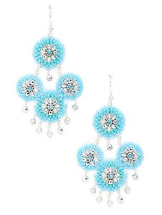 Turquoise & Silver Drop Earrings by Miguel Ases at Gilt