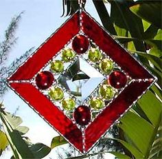 Red Stained Glass Suncatcher  Nuggets and by StainedGlassDelight, $19.95