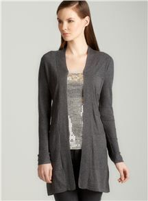 August Silk Shawl collar cardigan in grey--On sale at Loehmann's now for only $17. I kid you not.