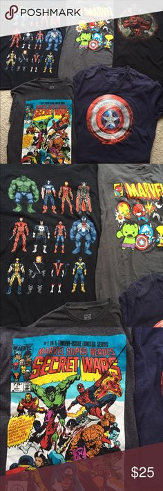 Bundle 5 Marvel Comics Superhero T-Shirts Men's L Bundle of 5 men's L Marvel Superhero T-Shirts. VGUC, the Captain America shield t-shirt shows some wash wear and there are a few white marks at the top of the comic book cover print, but otherwise great. Marvel Shirts Tees - Short Sleeve