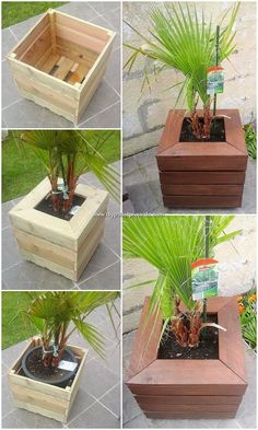 Planter boxes Garden planter boxes Pallets garden Garden Plant box Raised garden beds diy - Pallets made an amazing plant box that has a layered effect for a super outdoor spot They could be the - Garden Planter Boxes, Wood Planters, Flower Planters, Pallet Planter Box, Wooden Planter Boxes Diy, Diy Planters Outdoor, Modern Planters, Log Planter, Winter Planter