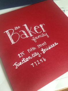 Stripe Font Hand Lettered Envelopes White UniBall Signo Gel ink shows up great on red envelopes! Perfect for Christmas!   Disclosure: This is an affiliate link and if you click the link and make a purchase I may receive a commission at no additional cost to you.