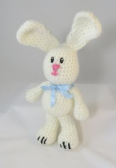 White Crochet bunny Amigurumi Easter Bunny $15.00  by VermontCountryNotion