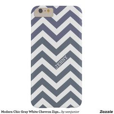 Modern Chic Gray White Chevron Zigzag Pattern Barely There iPhone 6 Plus Case