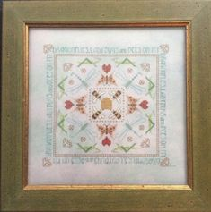 Completed-Cross-Stitch-M-Design-Dragonfly-Ladybug-Bees-Oh-My-Hand-Dyed-Linen-16-034