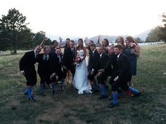 "A true #Baylor wedding! (Note the Superman socks for #RG3 and, of course the ""sic 'ems."") The bride and groom are Katelyn Davis and Brad Baroch, both Baylor grads. (via @SicEm06)"