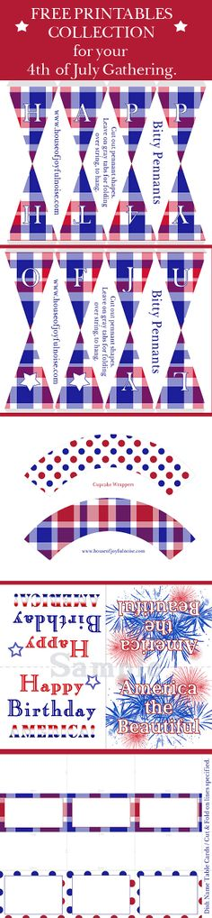 4th-fourth-of-july-free-printables:  Cute itty-bitty pennants, dish tent cards, cupcake wrappers, and decorative America birthday cards. fourth-4th-of-july-free-printables, free-printables, red-white-blue, America www.houseofjoyfulnoise.com