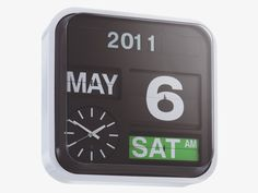 FLAP WHITES Plastic Large black analogue wall clock - HabitatUK