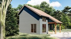 This Modern style cabin plan features a large kitchen and living room with a large bedroom on the second level. Electrical Plan, Lake Cabins, Roof Plan, Garage Plans, Cabin Plans, Large Bedroom, Small House Plans, Stairways, Building A House