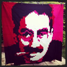 Groucho pixelated quilt by Andi Herman | patchandi.  Pattern available at YouPatch.  YouPatch is a pixelating service that turns a picture into a quilt pattern in a couple of simple steps.