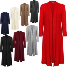 Details about USA Women Long Maxi Cardigan Sweater Coat Knit Open ...