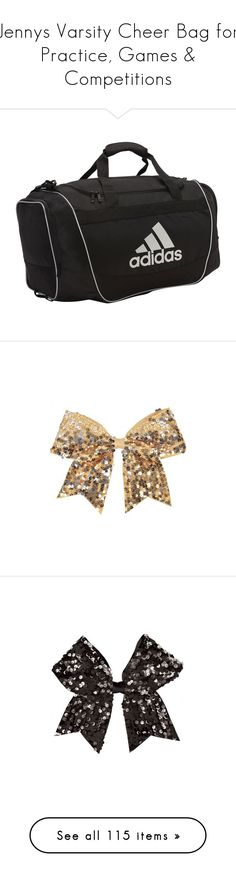 """""""Jennys Varsity Cheer Bag for Practice, Games & Competitions"""" by hiimmichelle on Polyvore featuring accessories, hair accessories, chassè, sequin hair accessories, sequin hair bow, bow hair accessories, gold hair bow, hair bows, cheer and cheerleading"""