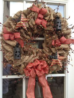 Burlap Wreath  Primitive Wreath  Americana by TranquilitybyAney, $55.00