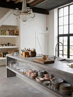 How to clean your kitchen credenza? Kitchen Benchtops, Kitchen Flooring, Concrete Kitchen Floor, Laminate Flooring, Concrete Furniture, Kitchen Furniture, Concrete Bench, Kid Furniture, Furniture Dolly