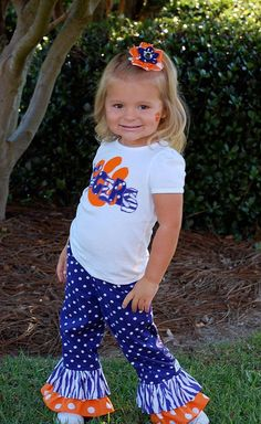 Clemson Cutie Game Day outfit by PunkersNPie on Etsy - Toddler Clemson Shirt - Clemson Ruffle Pants