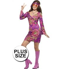 Voordelig compleet hippie verkleedkostuum in grote maten voor dames. Het kostuum bestaat uit een jurk met bijpassende hoofdband (sjaaltje) en een ketting met peaceteken. Materiaal: 100% polyester.