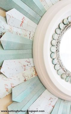 DIY Beaded Sunburst Mirror From a Ceiling Medallion & Scrapbook Paper