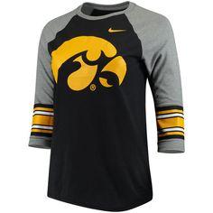 Iowa Hawkeyes Nike Women's Sleeve Stripe Raglan 3/4 Sleeve Tri-Blend T-Shirt - Heathered Black 2