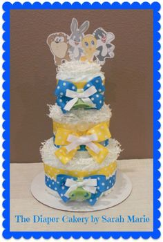 Looney Tunes Diaper Cake! #baby shower #Lonney Tunes #diaper cake #newborn #new baby #gift #centerpiece #cute #3 tier #tweety bird #bugs bunny