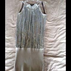 Bebe mini dress Bebe silver sparkle mini dress size xs.  Good condition bebe Dresses Mini