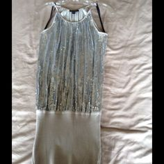 Bebe mini dress Bebe silver sparkle mini dress size xs.  Good condition bebe Dresses Mini