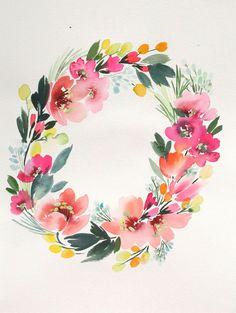 "12"" x 16"" Tropical Wreath - Original Painting"