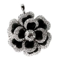 Chanel Camellia Diamond Platinum Brooch / Necklace | 1stdibs.com