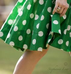 This picture just makes me happy! Emerald green and polka dots? YES!! <:)