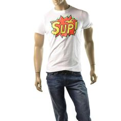 Hollister T Shirt Mens NEW White Sup! Size M Muscle Shirts by Abercrombie  | Get Dressed at http://ImageStudio714.com http://stores.ebay.com/ImageStudio714