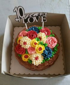 Yema cake with smbc Piped flowers