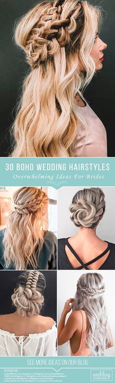 30 Overwhelming Boho Wedding Hairstyles Here you will find a plethora of boho wedding hairstyles for any tastes starting with elegant braided updos and ending with some creative solutions. See more: #weddinghairstyles #bridalhairstyles #bridal #bohoweddinghairstyles