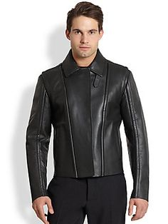 This Salvatore Ferragamo Italian Leather Moto Jacket feels just as smooth as it looks, you can't go wrong with it. It's also as heavy as the price tag at $6100