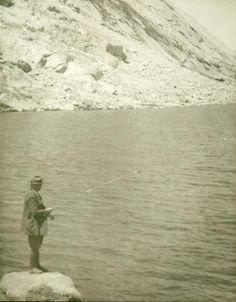 President Herbert Hoover fishing Pyramid Lake in Reno, Nevada - 1933.