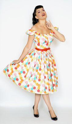 Jodi dress in Technicolor Honeycomb print #1950s-pin-up #50s-pin-up…
