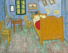 """The Bedroom 1889 Painting by Vincent van Gogh. The Art Institute of Chicago Van Gogh made three versions of this painting, depicting a room in his """"Yellow House"""" in Arles, in the south of France. Art Van, Van Gogh Art, Vincent Van Gogh, Monet, Van Gogh Pinturas, Van Gogh Paintings, Oil Painting Reproductions, Art Institute Of Chicago, Art Google"""