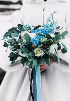 blue wedding bouquet голубой букет невесты