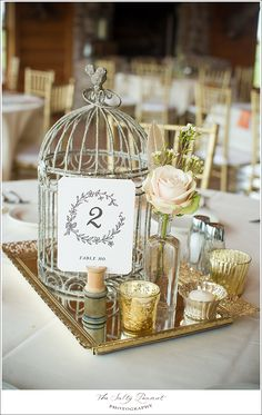 I keep finding things with bird cages or lanterns and I think it's super cute! Additionally, if you were to add big things like this to a couple of tables, you could help cut your floral budget by only needing small arrangements